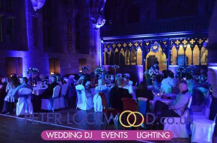 peckforton castle purple wedding lighting