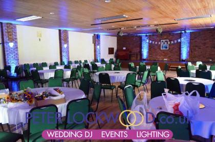 blue-wedding-lighting-in-antrobus-village-hall-wedding