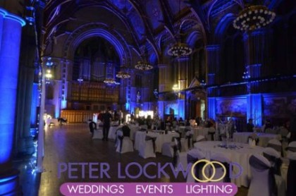blue uplighting in manchester town hall