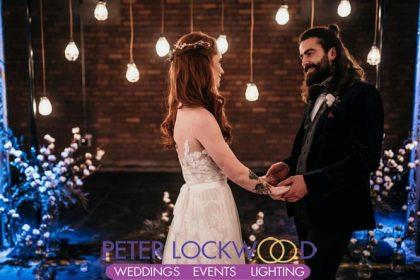 edison lamp wedding backdrop