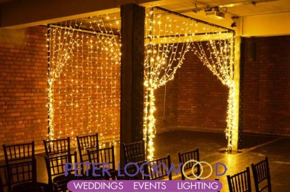 wedding pergola filled with fairy lights