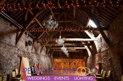 barn wedding fairy lights