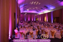 purple and pink wedding lighting at Tenants Hall in Tatton Park