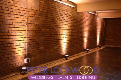 wedding up-lighting in manchester's Victoria Warehouse