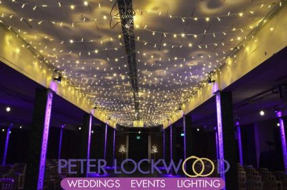 wedding aisle fairy light canopy
