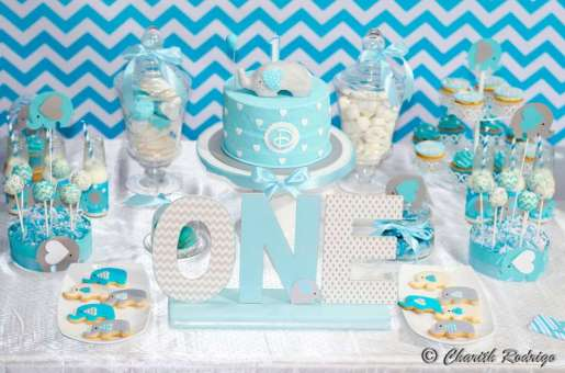Blue Elephant Theme Birthday Party Decoration 7