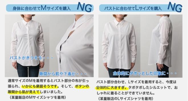 グラマーサイズシャツVer3.5 比較 大きな胸の女性がシャツを選ぶときのNGパターン 身体の大きさに合わせてMサイズを購入したケース 通常サイズのMを着用すると大きなバスト部分の布が引っ張られ、いかにも窮屈そうです。そして、ボタンの隙間から肌やブラがチラ見えしてしまっています。 バストに合わせてLサイズを購入したケース 大きなバストに合わせ、Lサイズを着用すると、当然ながら全体的に大過ぎ。ダボダボしたシルエットになってしまいお洒落に着ることが出来ないばかりか、太って見えちゃいます。