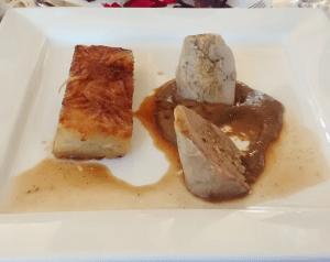 Caille de vigne farçie aux morilles, jus de caille aux morilles, pomme darphin