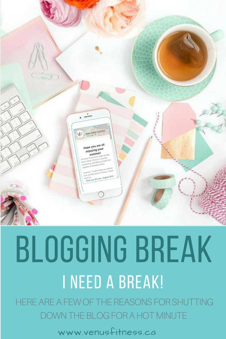 Taking a Blogging Break - Venus Fitness and Lifestyle