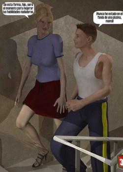 Madre e hijo en el rellano de la escalera