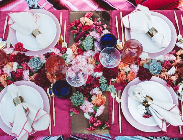 Tablescapes Ideas Pink Floral Tablescape with Succulents and Flowers