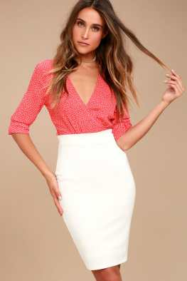 Pencil It In White Bodycon Pencil Skirt - Lulus