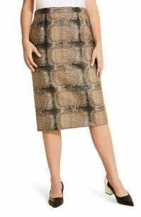 MARINA RINALDI Casanova Pencil Skirt, Main, color, HAZELNUT