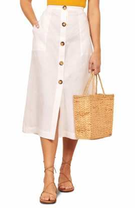 REFORMATION Highland Button Front Midi Skirt, Main, color, WHITE