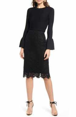RACHEL PARCELL Lace Pencil Skirt, Main, color, BLACK