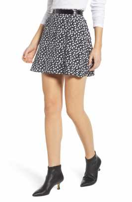 SOMETHING NAVY Easy Print Miniskirt, Main, color, SN BLACK VINTAGE FLORAL