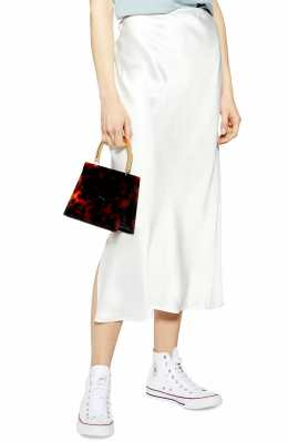 TOPSHOP Split Side Bias Midi Skirt, Main, color, IVORY