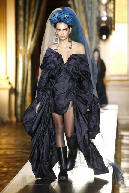 long navy dress with anckle chunky boots outfit Andreas Kronthaler for Vivienne Westwood Winter 2020 colection
