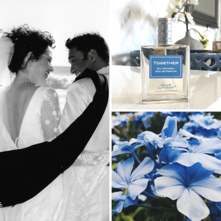 Pour Le Monde Perfume image and couple just married backs and blue flowers image