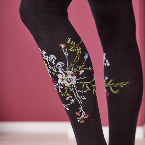 Living Crafts hosery sustainable brand - Hiske Tights in black with embroidery