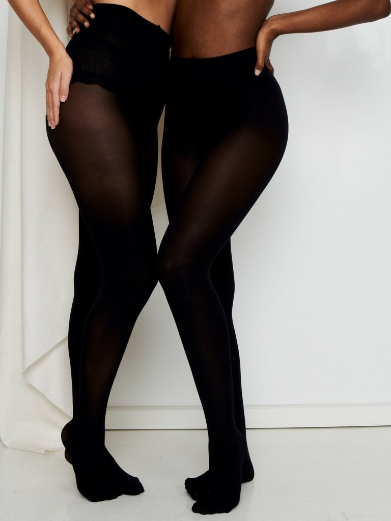 Underprotection sustainable hosery brand two women wearing black paula tights