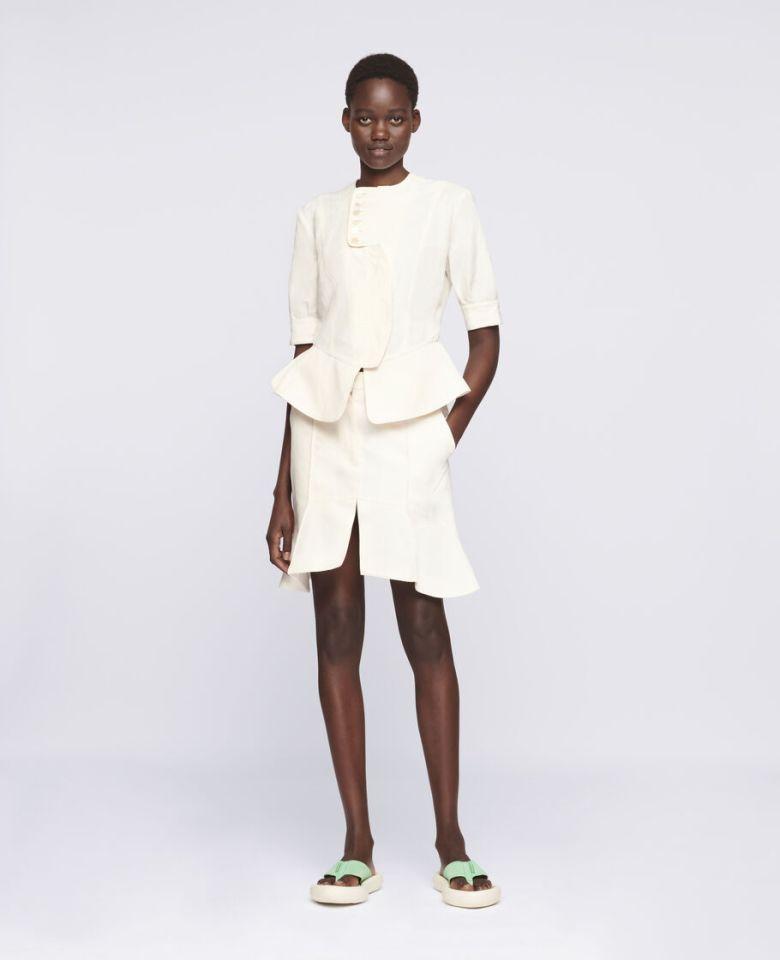Woman wearing STELLA-MAcCARTNEY-Arabella-Mini-Skirt