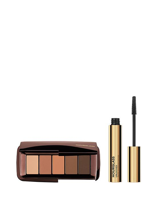 Hourglass Matte Nude Eyeshadow with pink to brown colours and eye mascara
