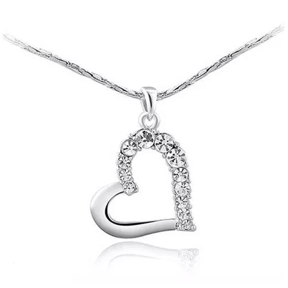 Collar De Corazón Y Aretes De Cristal Genuino De Austria
