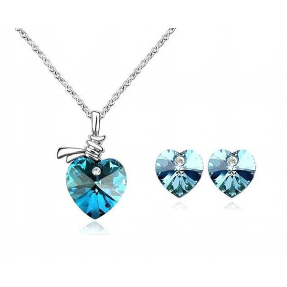 Conjunto Collar De Cristal Con Corazón Colgante Y Aretes