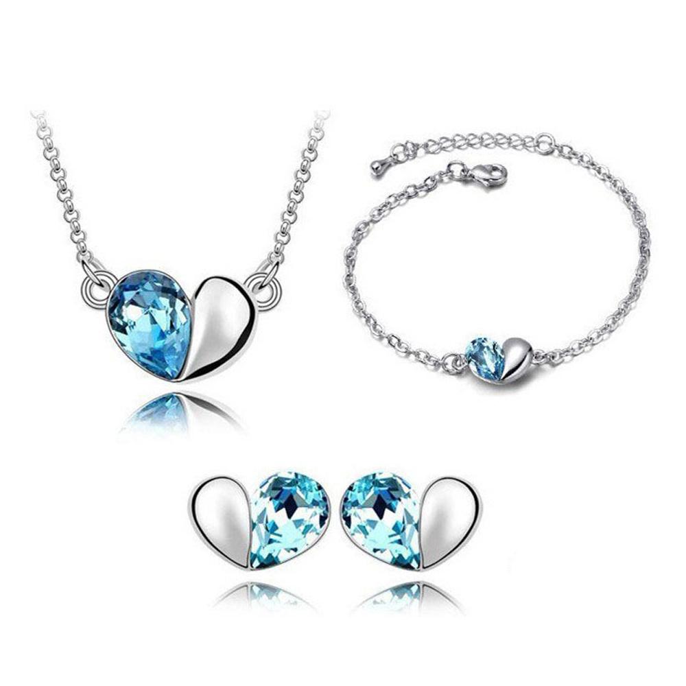 Conjunto De Joyería Collar Pulsera Y Aretes Corazón De Cristal