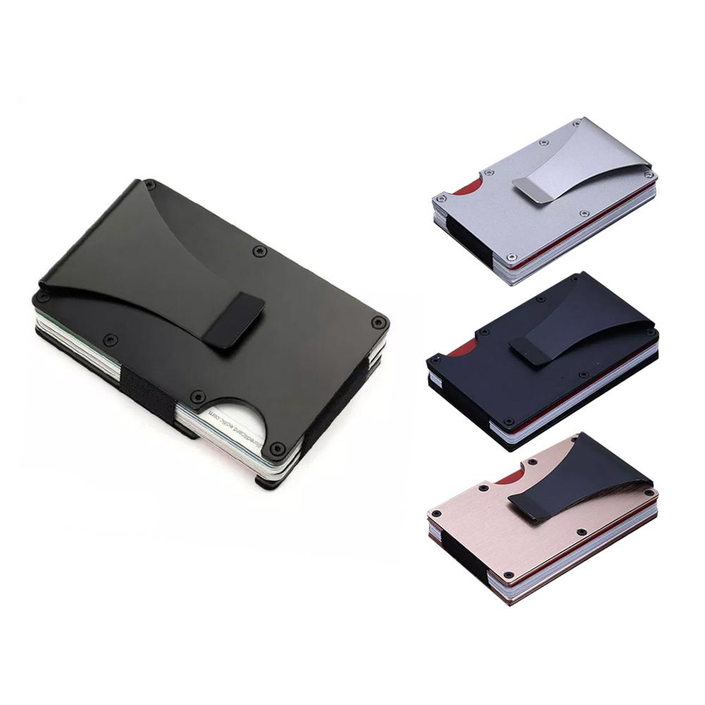 Tarjetero Metalico Clip Para Billetes Protector RFID Varios Colores