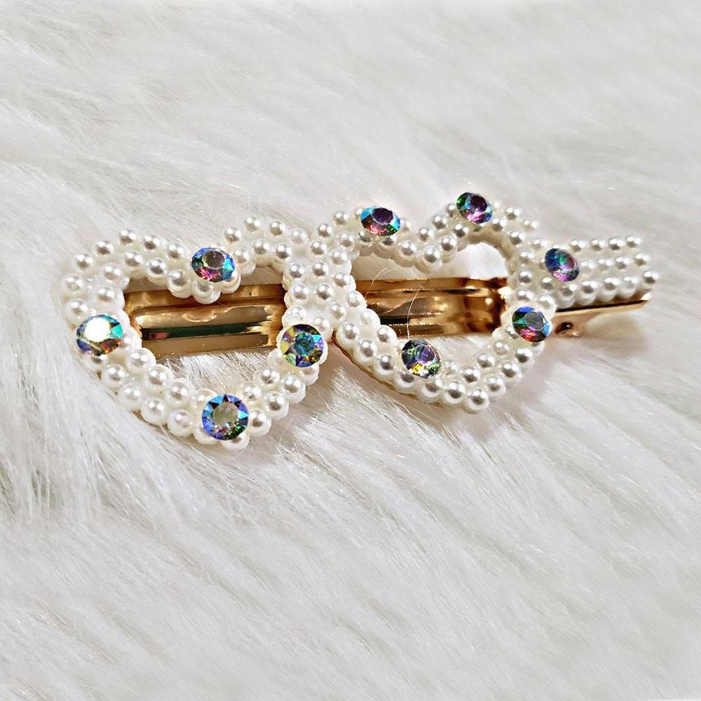 Pinzas De Perlas Y Piedritas Azules Para Cabello A La Moda