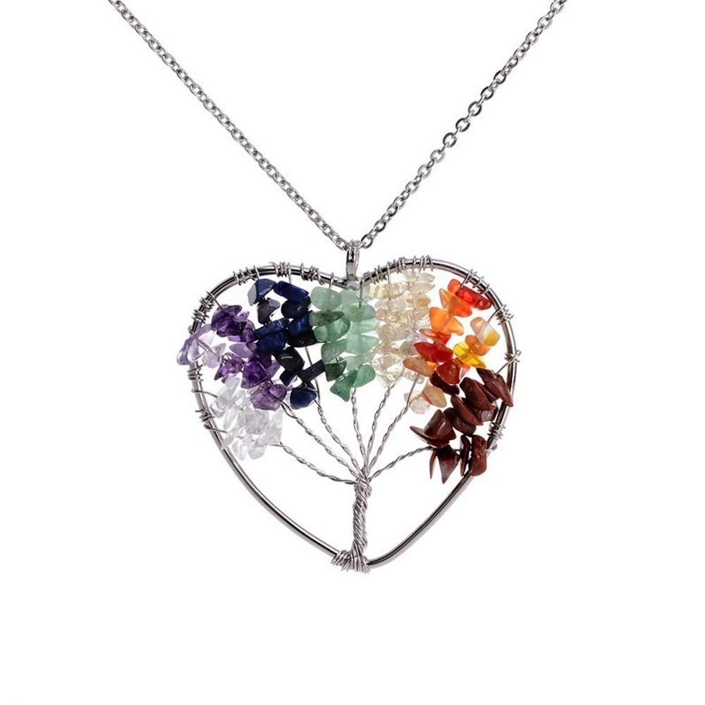 Collar Corazón Árbol De La Vida Siete Chakras Piedra Natural De Cuarzo