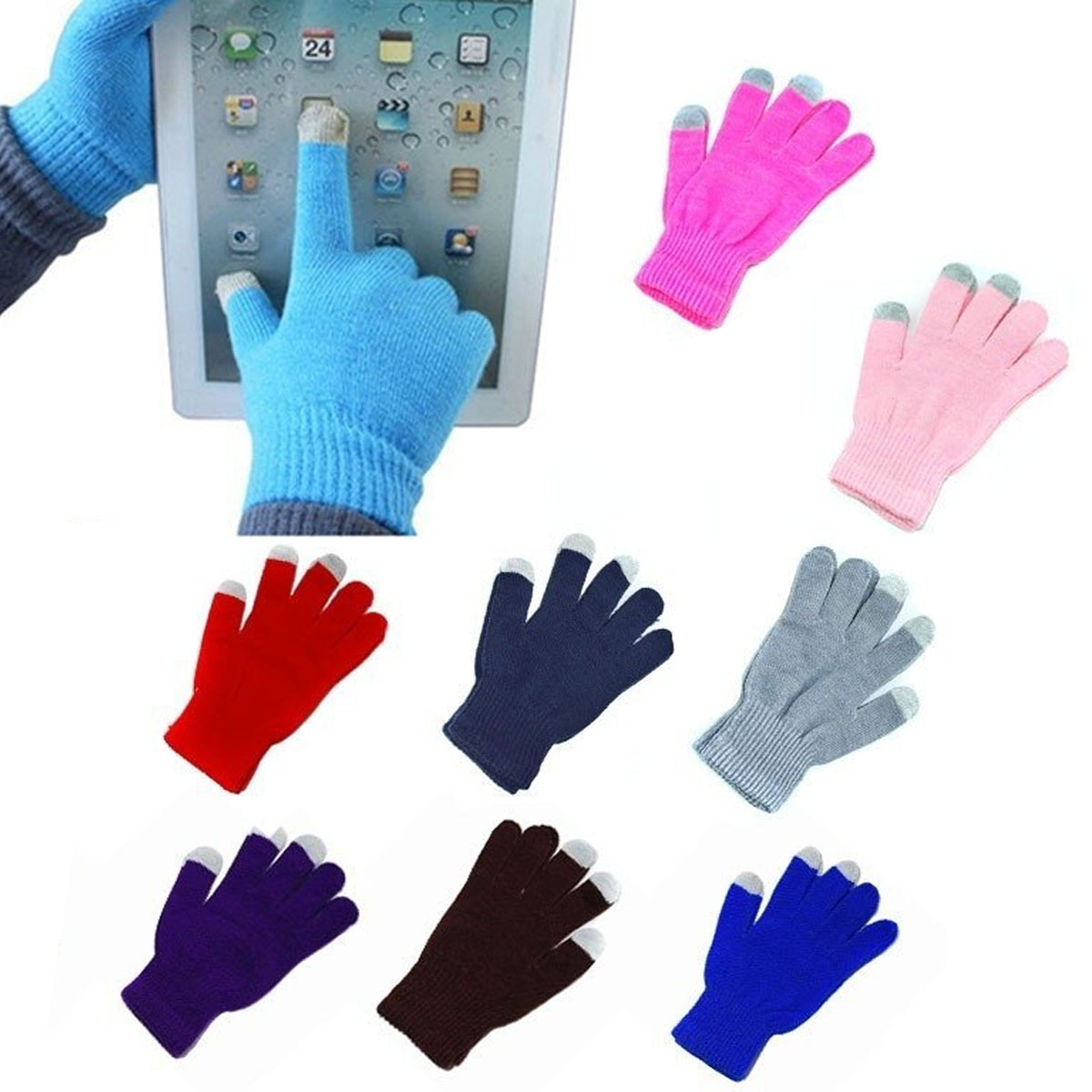 Guantes Touch De Lana Tejido Tablet Celular Invierno Colores