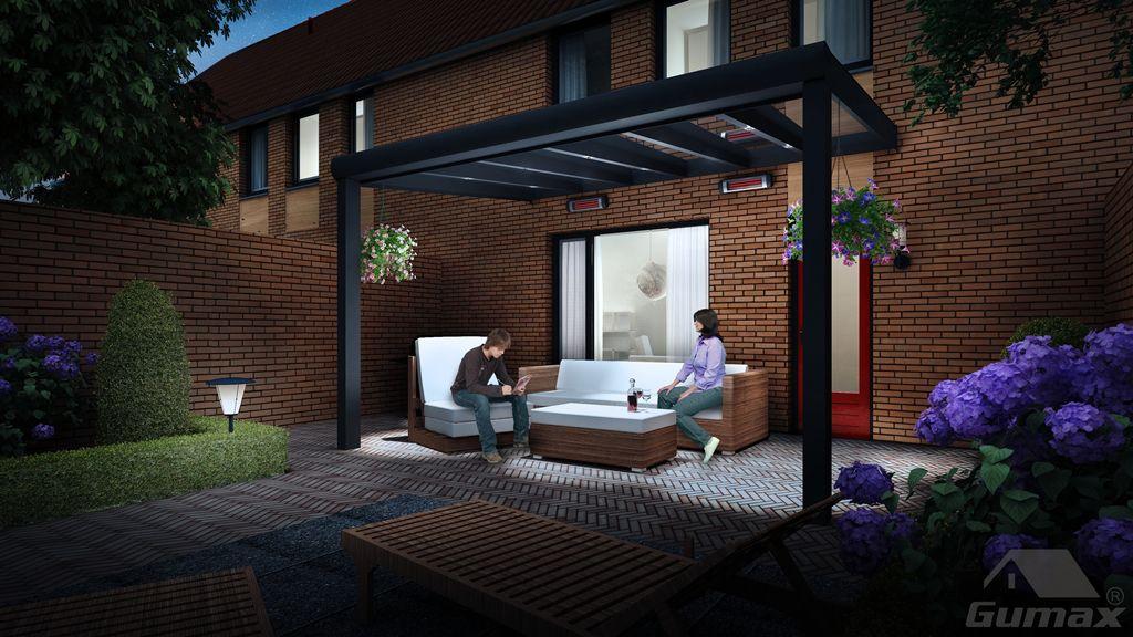Gumax terrasoverkapping mat antraciet modern met LED verlichting