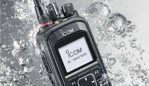 Icom radio handset for communication via satellite