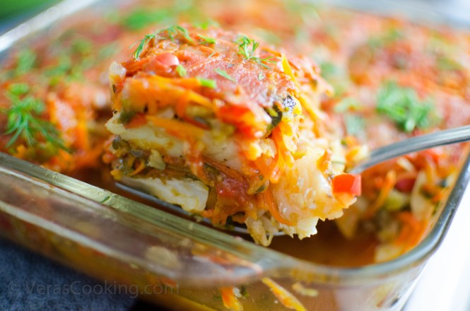 Baked Cod and Vegetables/ White fish/ Vera's Cooking/ Verascooking.com/