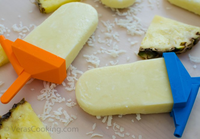 Pineapple and coconut popsicles/ Vera's Cooking/ Verascooking.com/
