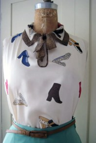 Blouse with Appliqued shoes and collar cut out from a vintage scarf- personal wardrobe
