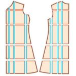 image of slashed and spread dress pattern for Threads Grading guide