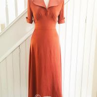 photo of 30s style rust colour silk dress