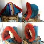 photo of colourful wool and fake fur hood