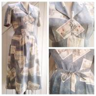 Vintage mans kimono made into 40's style dress, self drafted, personal wardrobe