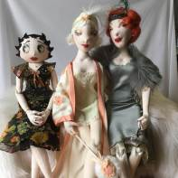 Three Little Ladies: dolls and clothing made by Jeanne, all self drafted.