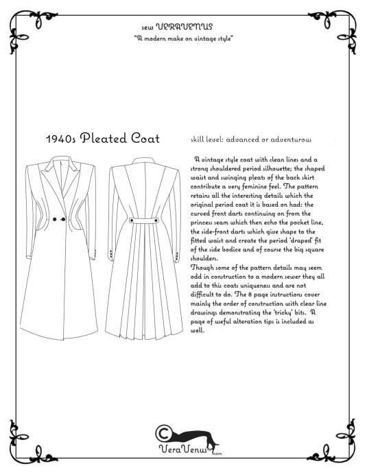 Image and description of VV 1940s coat pattern