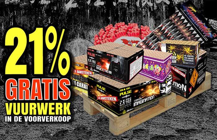 Verbakel Vuurwerk 21% gratis vuurwerk aktie