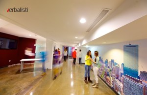 Students in the corridors of the teaching facilities at Kings Boston