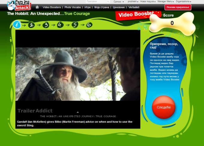 Online engleski i Video Booster Hobit