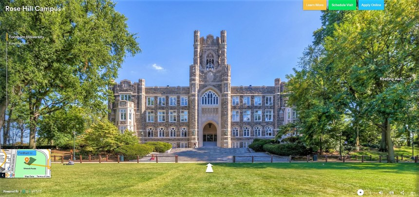 Virtuelni obilazak kampusa Rose Hill univerziteta Fordham u Njujorku, jezicka mreža Verbalisti