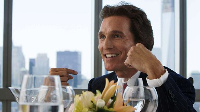 Matthew McConaughey chest beating in The Wolf of Wall Street